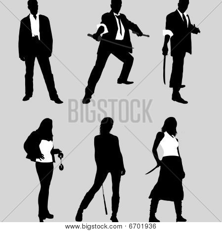 bad guys vector silhouettes (men and women)