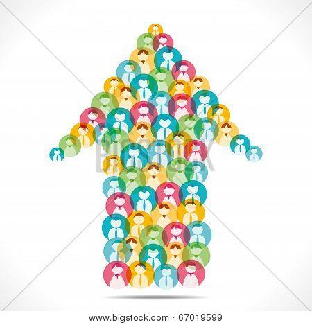 colorful people icon make arrow shape