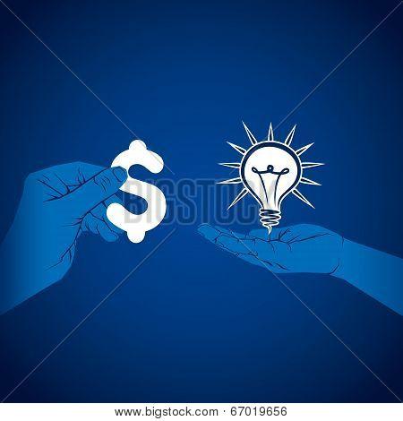 exchange money and idea concept vector