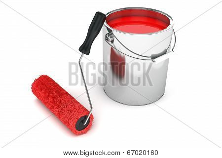 Roller Brush And Can Re Print Isolated On White Background