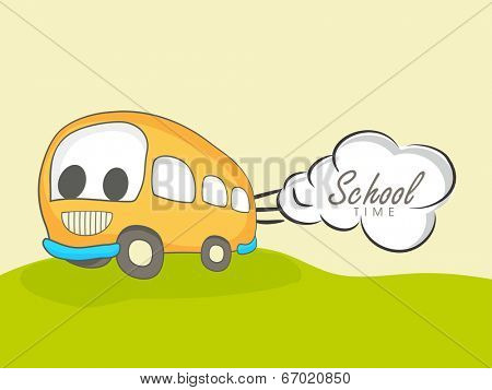 Kiddish illustration of a bus with stylish text School on green land.