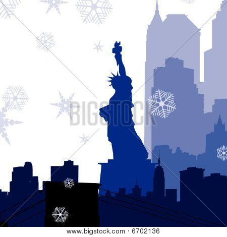 vector Christmas New York silhouettes illustration