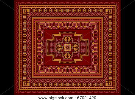 Bright carpet old style in red and burgundy shades