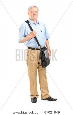 Full length portrait of a mature mailman with a bag posing isolated on white background
