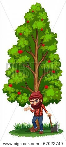 Illustration of a woodman under the tree with an axe on a white background