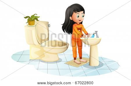 Illustration of a cute little girl washing her hands on a white background