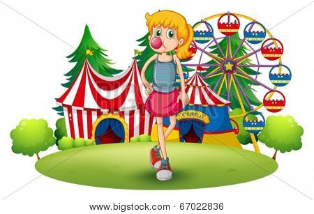 Illustration of a tall young girl at the carnival on a white background