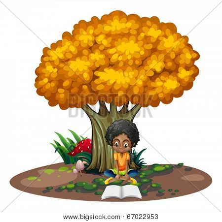 Illustration of a black woman reading under the tree on a white background
