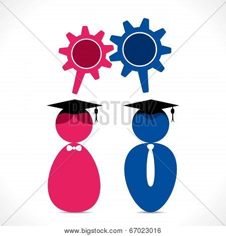 graduate student icon with gear shape message bubble vector