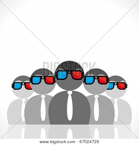 people wear 3-d movie glasses vector