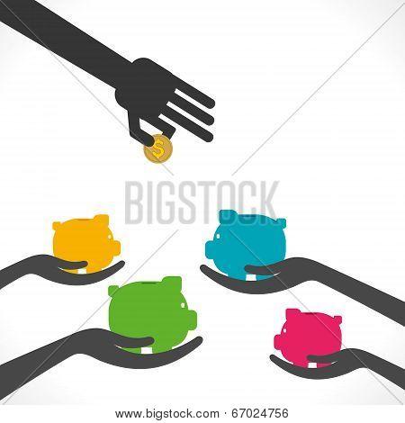 saving money , every piggy bank ready to save money concept vector