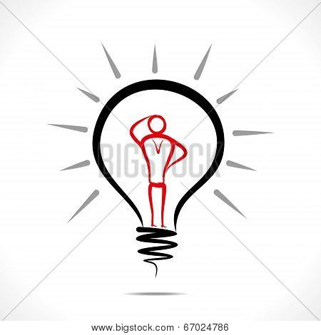confuse men in bulb design concept vector