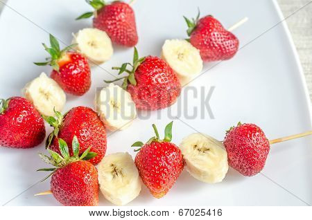 Skewers With Strawberries And Banana