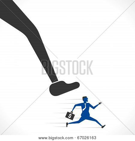 big foot try to hit the businessmen concept vector