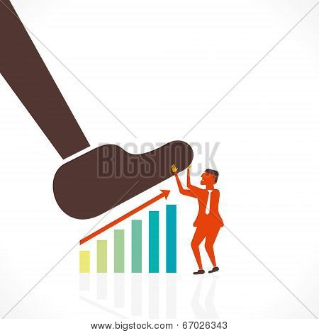 businessmen save the growth graph by big foot concept vector