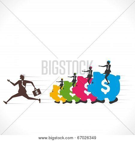 piggy bank follow the businessmen vector