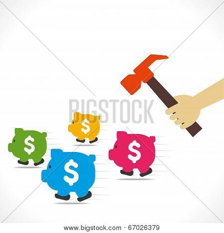 hammer hit to running piggy bank concept vector