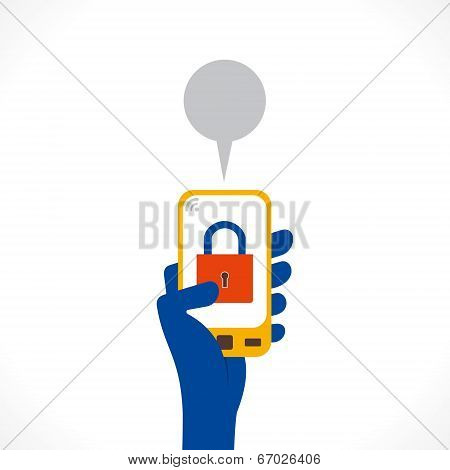 security or protection apps symbol is display in mobile vector