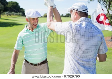 Golfing friends high fiving on the eighteenth hole on a sunny day at the golf course