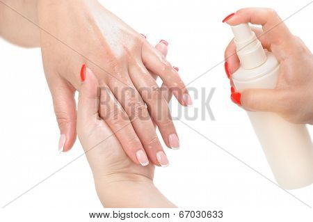 beauty salon, manicure applying, moisturising with thermal water