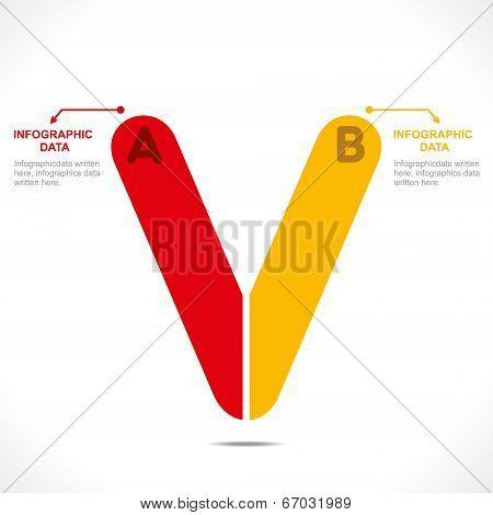 creative alphabet 'V' info-graphics design concept vector