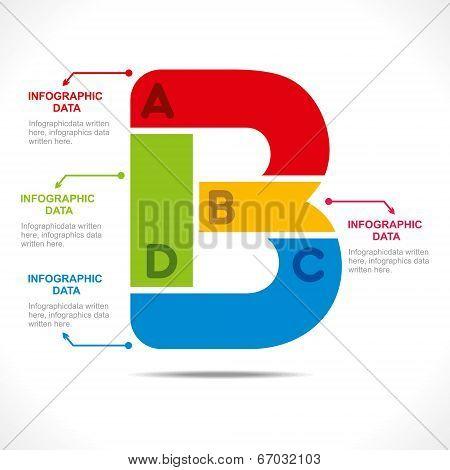 creative alphabet  B  info-graphics design concept vector