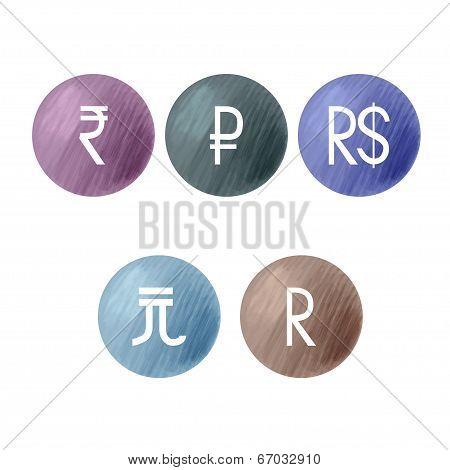 Currencies symbols. BRIC