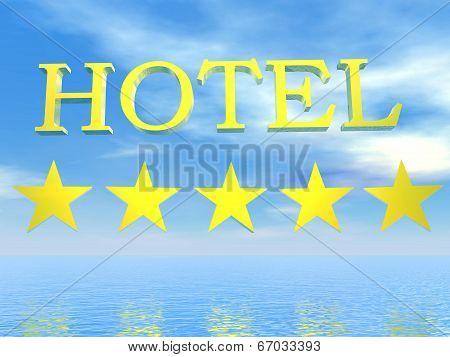 Golden Hotel sign 5 stars - 3D render