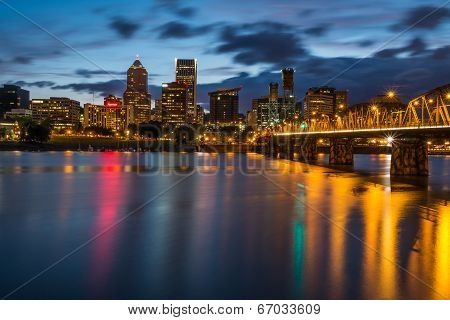 Portland Skyline Along Waterfront