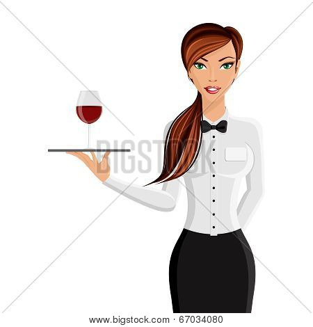 Woman waiter portrait