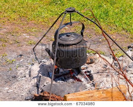 Teapot On The Campfire