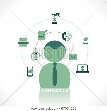 creative retro contact us icon concept vector