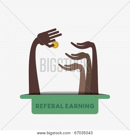 referral earning concept or share money concept vector