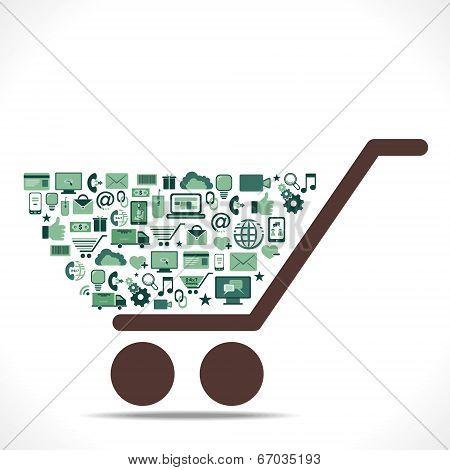 creative e-commerce icon arrange in shopping cart concept vector