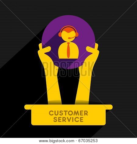 creative call center men icon design vector, icon hold in hand