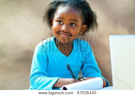 Afro Student Doing Schoolwork.