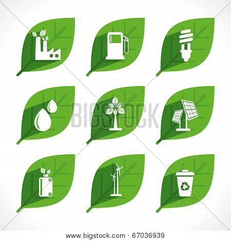 creative green energy or eco icon design concept vector