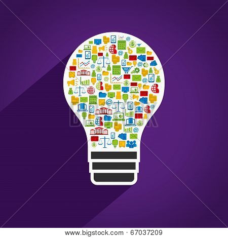 creative bulb design with colorful business icon design concept vector