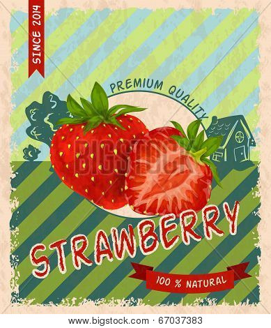 Strawberry retro poster