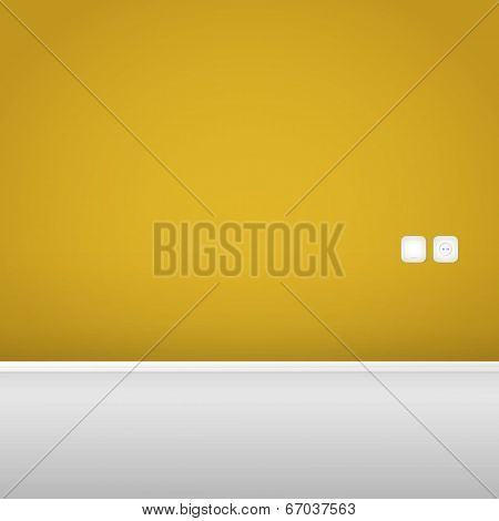 Yellow Wall with Socket and Switch