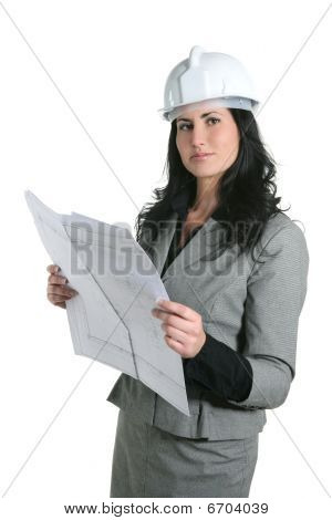 Architect Woman White Hardhat And Plan