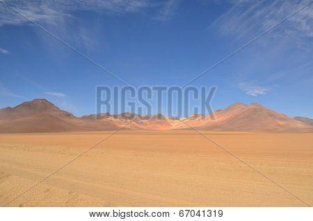 Dali's desert, surreal colorful barren landscape
