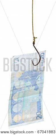 Fishing With 20 Euro Banknote Lure On Fishhook