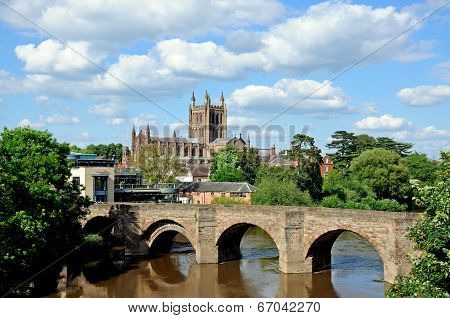 Cathedral and Wye Bridge, Hereford.