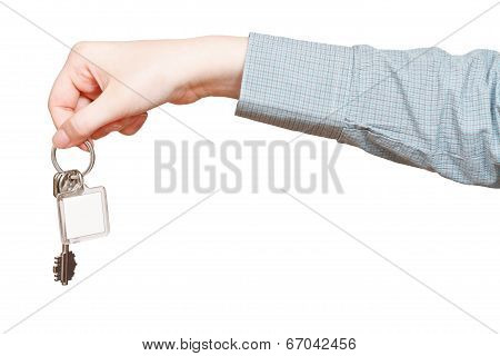 side view of blank key ring in hand