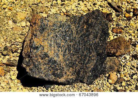 A piece of hardened lava