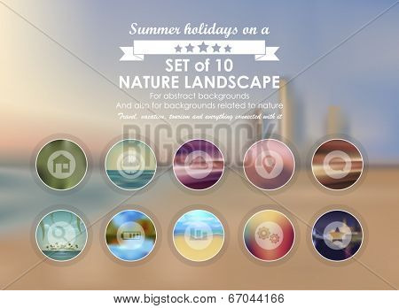 Vector web and mobile interface template. Corporate website design. Minimalistic multifunctional media backdrop. Vector. Editable. Blurred. Circle badge label, mountain landscape. Options, Icon