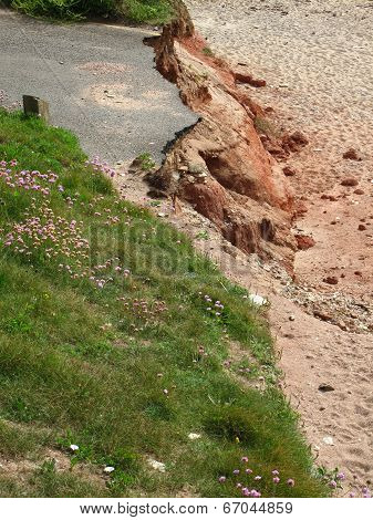 Eroded Cliff Road Seascape