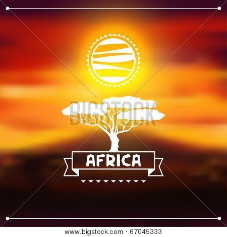 African ethnic background on evening savanna landscape.