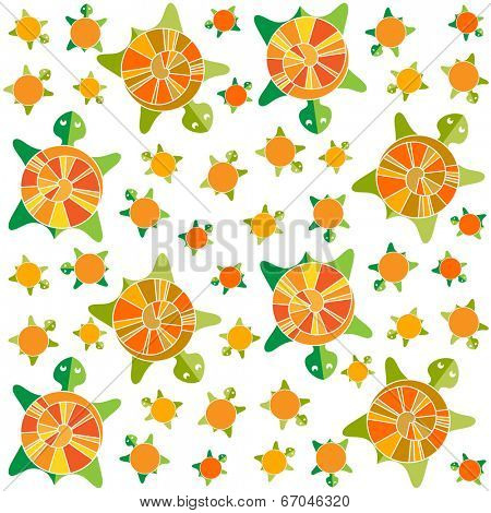 seamless color pattern - turtles, vector